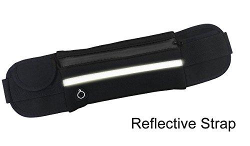 YKD Hüfttaschen Sport Running Gürteltasche mit Kopfhörer Slot & Reflective Strap & Kompartiment,Wasserdicht und Schweiß Neopren Material-Y16 Schwarz