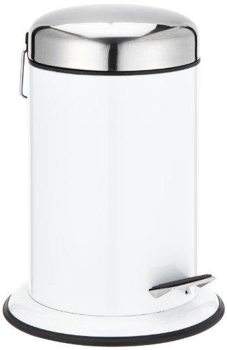 WENKO 17901100 Kosmetik Treteimer Retoro Weiß, Fassungsvermögen 3 L, Edelstahl rostfrei, 22 x 30.5 x 22 cm, Weiß