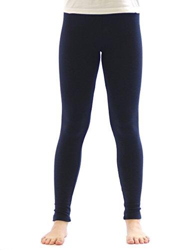 yeset Kinder Mädchen Thermo Leggings Fleece Hose lang Leggins aus Baumwolle dunkelblau 152 -