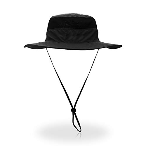Outfly Wide Brim Sonnenhut Mesh Bucket Hut Leichtgewicht Bonnie Hut Perfekt für Outdoor-Aktivitäten Schwarze Outdoor Hut