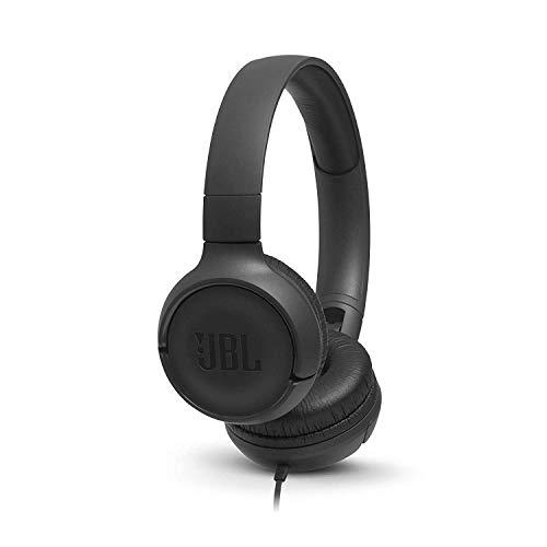 JBL Tune 500 Cuffie Sovraurali Cuffia On Ear con Microfono e Comando Remoto ad 1 Pulsante JBL Pure Bass Sound, Compatibile con Siri e Google, Leggere e Pieghevoli, da Viaggio, Nero