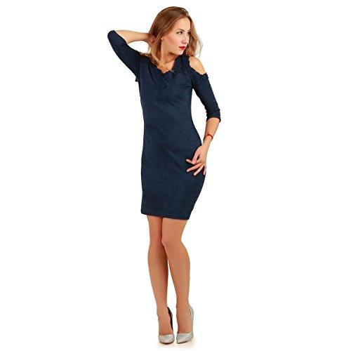 La Modeuse - Robe en suédine manches longues Bleu Marine
