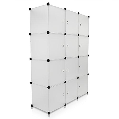 VENKON - Stufenregal Steckschrank Stoffschrank Frei Gestaltbares DYI Regalsystem: 12-Modulfächer mit Türen, satiniert-transparentes Steckregal