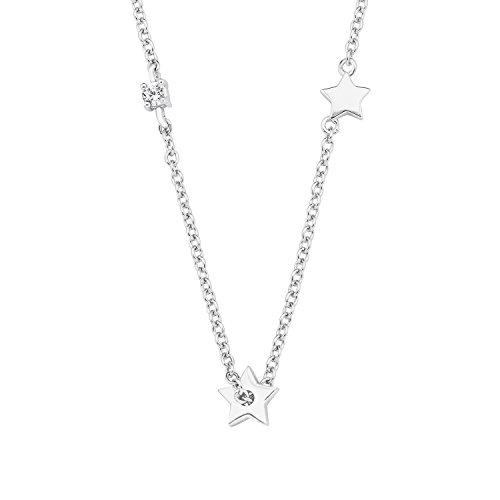 s.Oliver Damen-Kette 45 cm So Pure mit Stern-Anhänger 925 Silber Zirkonia weiß