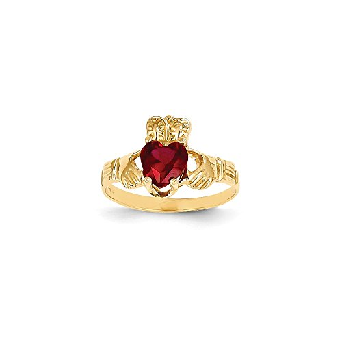 14K Januar Geburtsstein Claddagh Ring (Geburtsstein Januar-ring)
