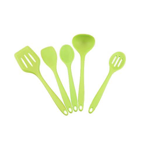 DaoRier Silikon-Küchengeschirr Suppenlöffel Leckage Schaufel Dichte Schaufel Set 5 Stück (grün)