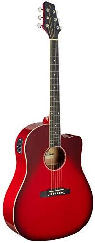 Stagg Cutaway - Guitarra acústica eléctrica (hombro inclinado), color rojo transparente