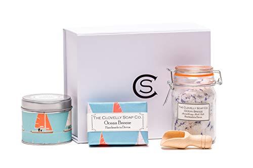 Clovelly Soap Co Handmade Bergamot & Lemongrass Soap Candle & Bath Salts Gift Set