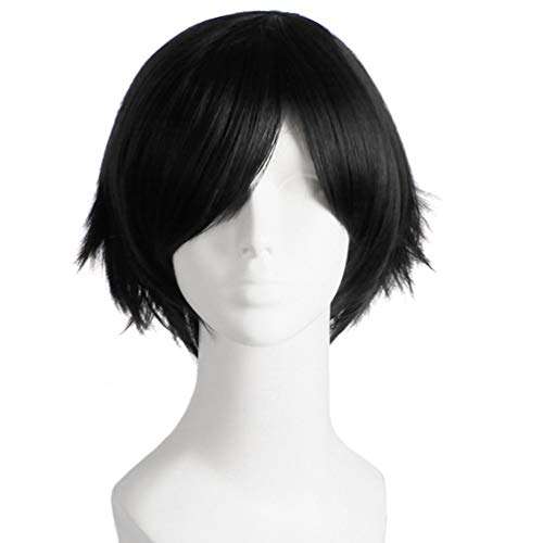 Oyamihin Hitzebeständige Faser 100g einfach zu Waschen und halten Sie es sauber Mann Mode Licht Kurze Glatte Haare Perücke für Comic Cosplay Partei - Milch Golden, schwarz, lila, rot, O -