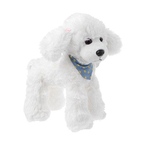 Xuniu Schöne Gefüllte Hunde Puppe Spielzeug, weiche Pudel Plüschtier Für Kinder Geburtstage Geschenk Weiß 20x25 cm -