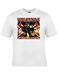 PATOUTATIS - t-shirt homme Fire rescue - First in last out - Sapeurs pompiers USA - réf 13488 - blanc