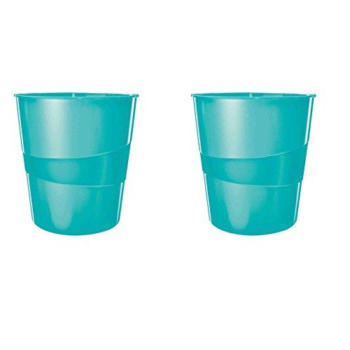 Leitz WOW Papierkorb, 15l, Polystyren (2er Pack, eisblau metallic)
