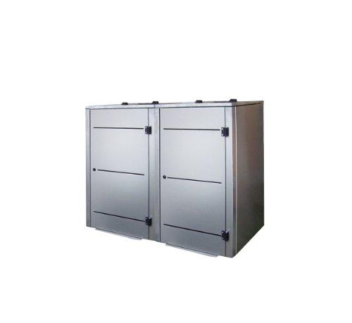 Mülltonnenbox Edelstahl, Modell Eleganza Line3, 240 Liter als Zweierbox