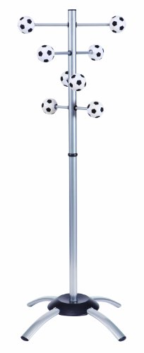 Alba - Appendiabiti per bambini con ganci a forma di pallone da calcio, in metallo/plastica, colore: Nero/Bianco