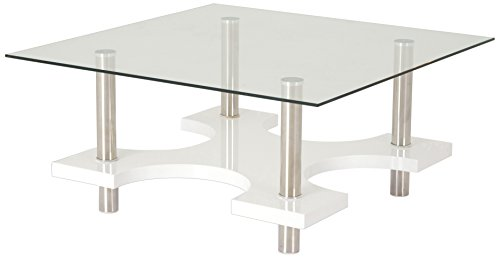 Soliving Barnabe Table Basse Carrée Plateau Verre, Blanc, 98 x 98 x 42 cm