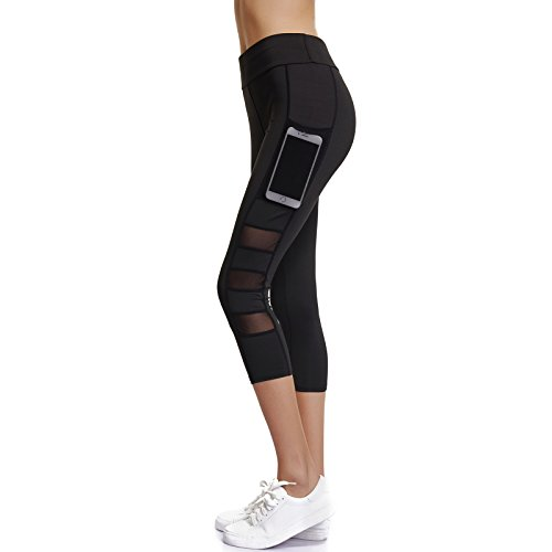 Joyshaper Gym Leggings with Pockets Women 3/4 Length Capri Trousers Pants Tights Mesh Ladies Girls Stretchy Skinny Slim Yoga Workout Fitness Training Athletic Tummy Control (Black, Large)