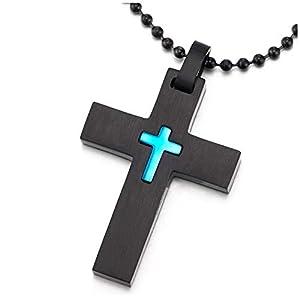 COOLSTEELANDBEYOND Herren Damen Edelstahl Glatte Kreuz Anhänger Halskette, Schwarz Blau, 60cm Stahl Kugelkette