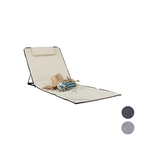 Relaxdays Strandmatte Xxl Gepolsterte Sonnenliege M Kopfkissen