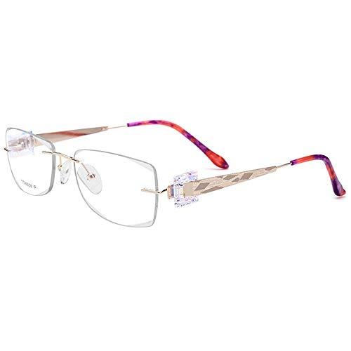 Damen-Geschäfts-optischer Schauspiel-Rahmen, rahmenlose Brillen, Strass-Dekoration Accessoires (Farbe : Eyeglasses)