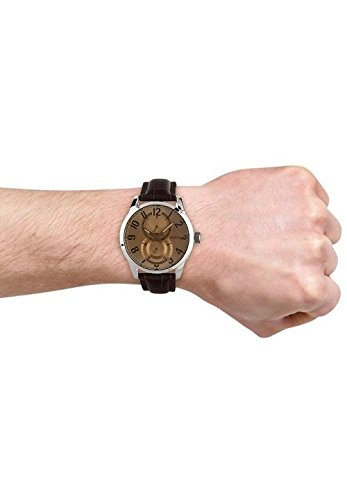Guess Men's Quartz Watch with Brown Dial Analogue Display and Brown Leather Strap W95127G2