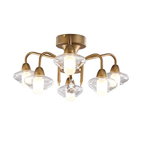 Schlafzimmer-Wohnzimmer-Esszimmer-Lampen, Deckenleuchte Rund Branch Modern Designer aus Eisen in Bronze mit Glasschirms, Deckenlampe G9-Fassung 6-Flammig Ø54*H24 CM