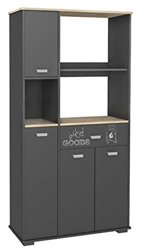 Abitti Buffet Placard haut de cuisine avec 4 portes 1 tiroir et Gris graphite180 cm.