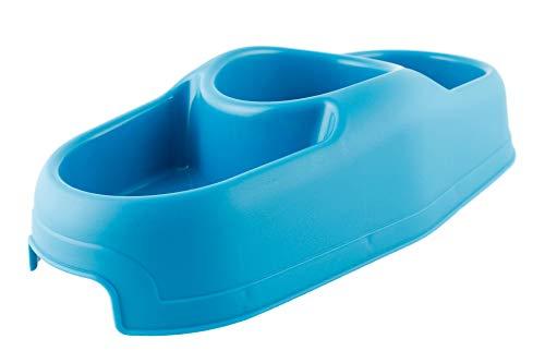 Kukk ciotola tripla per cani e gatti, in plastica con piedini antiscivolo. mangiatoia abbeveratoio per animali domestici, scodella. (blu)