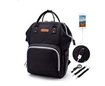 Baby Wickelrucksack Wickeltasche, 2 Kinderwagen-haken, USB-Lade Port, Große Kapazität, Multifunktional, Wasserdicht, Kein Formaldehyd (schwarz) -