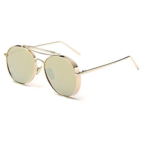QHGstore Unisex Retro Classic Round Circle Beach Driving Aviator Outdoor Travel Eyewear Metal Frame Sunglasses Women Man Gold+Gold