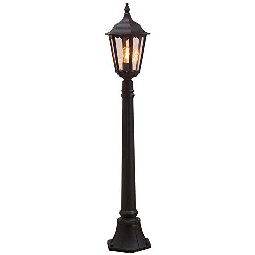 Außenlampe aus Aluminium Glas klar Straßen Laterne schwarz Höhe 120 cm (Standleuchte, Wegeleuchte, Weg Beleuchtung, Außen Leuchte, Garten Lampe, Standlampe, inkl. Pfahl, Fassung E27)