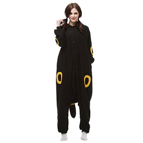 MissFox Erwachsene Pyjama Tieroutfit Tierkostüme Schlafanzug Tier Sleepsuit mit Kapuze Fleece Overall Festival Cosplay Kostüm - Gelb Mond Elf, S (Elf Schlafanzug Erwachsene)