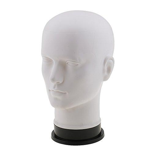 Weiße, männliche Schaufenster-Kopfmodell von Sharplace, Ständer aus PVC zur Präsentation von Perücken, Brillen, Hüten, Sonnenbrillen, Kopfhörern und Schmuck