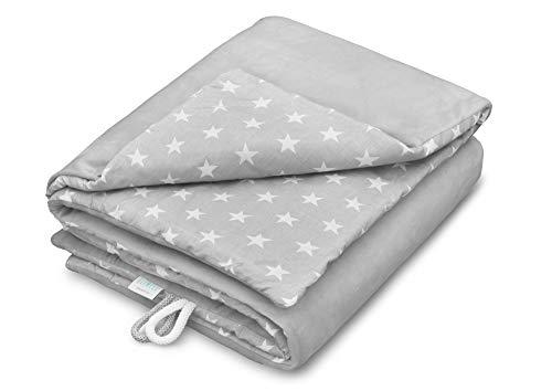 EliMeli Babydecke Kuscheldecke Krabbeldecke 75x100 super weichem Minky Polar Fleece | 100% Baumwolle | Füllung | hoch Qualität | Plüschdecke perfekt für Babys (Grey - White Stars) - Winter-polar-fleece