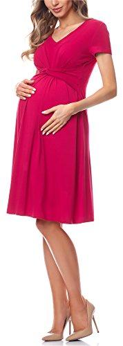 Be Mammy Damen Umstandskleid Maternity Schwangerschaftskleid BE20-223 (Himbeerrosa, M)