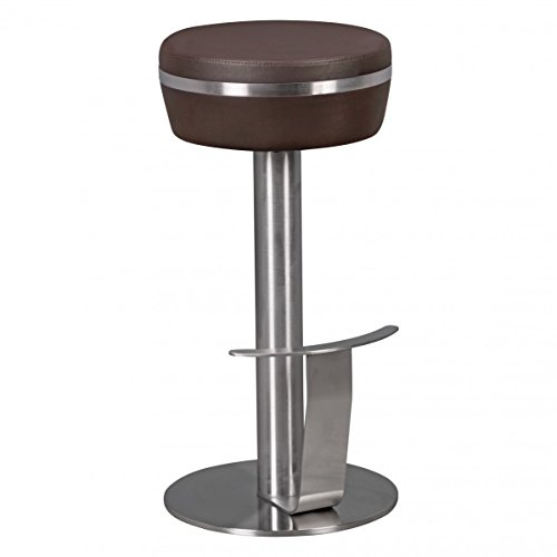 FineBuy Barhocker FB4829 Edelstahl Ø36 cm Kunstleder Tresenhocker Modern | Design Barstuhl Metall Hoch | Leder Hocker Bar | Thekenhocker für Küche | Hochstuhl für Tresen - Hohe Bar Hocker