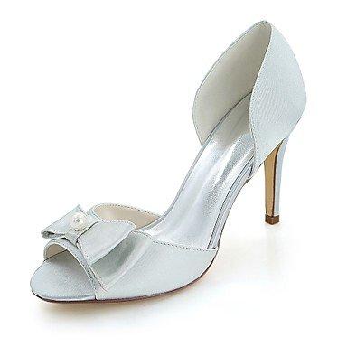 Wuyulunbi@ Scarpe donna raso Primavera Estate della pompa base scarpe matrimonio Stiletto Heel Peep toe Bowknot imitazione perla per il ricevimento di nozze e la sera. Argento