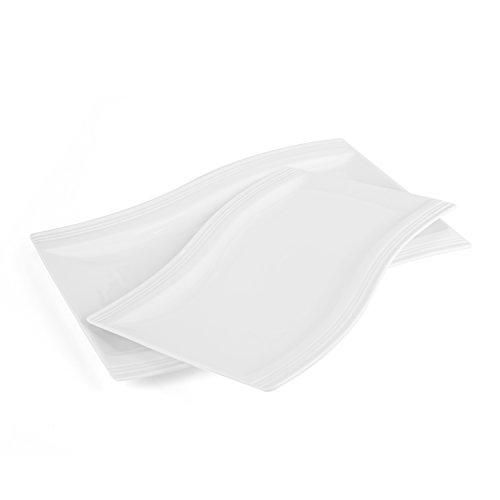 Malacasa 2pcs Assiette Plate Plat Hors-d'oeuvre Dessert Rectangulaire en Porcelaine Service de Table, 33,5*22,5*2,5cm&28*19,5*2,5cm, Blanc