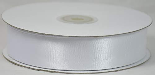 Nastro nastri doppio raso larghezza 25 mm bobina rotolo lunghezza 50 metri (bianco)