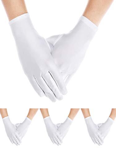 4 Paar Erwachsene Uniform Handschuhe Spandex Handschuhe Kleid Handschuh für Mann Polizei Formal Smoking Parade Kostüm (Weiß A)
