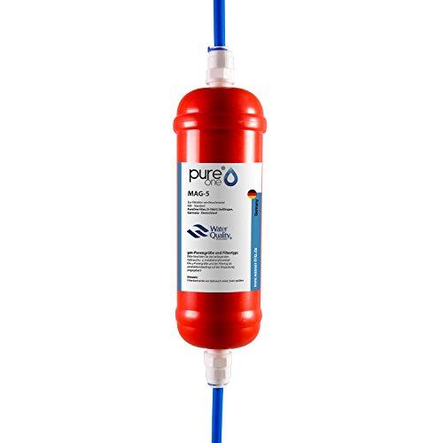 PureOne Mag-5 Inline-Wasserfilter. Magnetfilter zur Vitalisierung und Energetisierung von Wasser. Wasseraufbereitung für Osmoseanlage, Side-by-Side Kühlschränke. Inkl. 2 Meter Wasserschlauch (Fitting Regelmäßige)