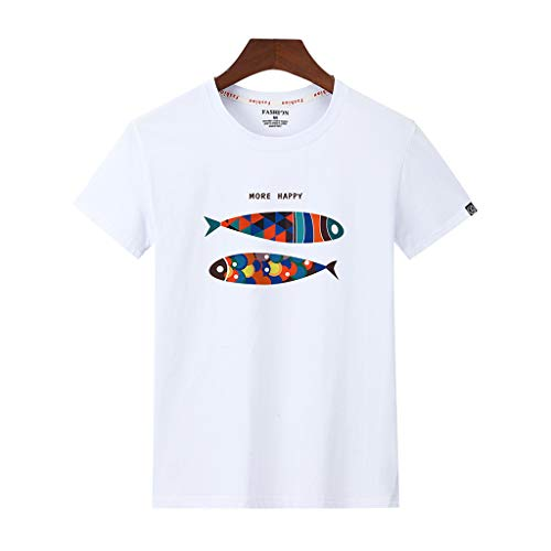 Tohole Herren T- Shirt O-Neck Print Kurzarmshirt Top Shirt Sleeve Basic Herren Rundhals Männer Casual Printed Rundhals Kurzarm T-Shirt Top Klassischer Street Style(weiß 6,M) - Sleeve Ballet Neck-shirt
