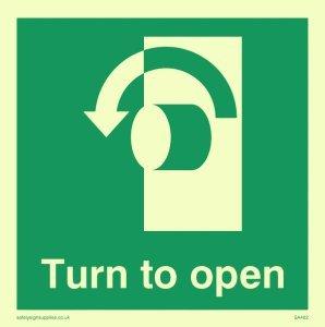 """Viking Schilder sa402-s85-pv Pfeil nach links unten """"Turn to open"""" Zeichen, nachleuchtend Aufkleber, 85mm H x 85mm w"""