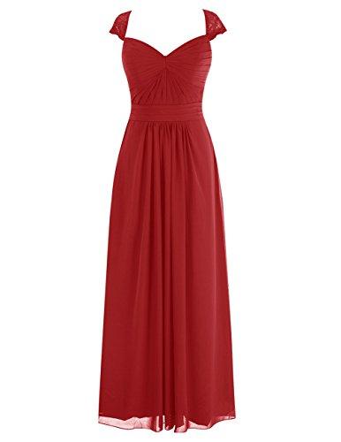 Dresstells Robe de cérémonie Robe de demoiselle d'honneur en mousseline longueur ras du sol Rouge