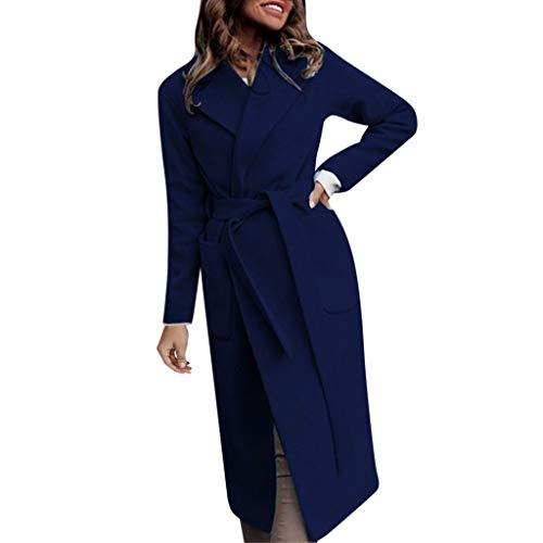 AIEason Damen Wasserfall Kragen Rücken Krawatte Wrap Lange Trench Cardigan Jacke Staubmantel Oberbekleidung L dunkelblau