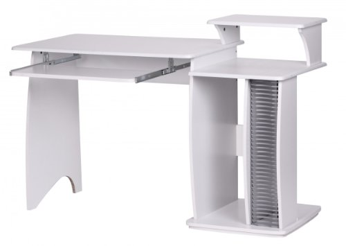 FineBuy Rio Schreibtisch 130cm breit mit CD Fach Ablage Aufsatz Tastaturauszug 55cm tief Computertisch platzsparend Holz ideal für Jugendzimmer PC Tisch Kinderzimmer -