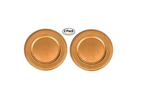 Serviertablett aus Kunststoff, mit Perlenrand, goldfarben, 2 Stück Ideal für Hochzeiten, Gastronomie und Dekoration.