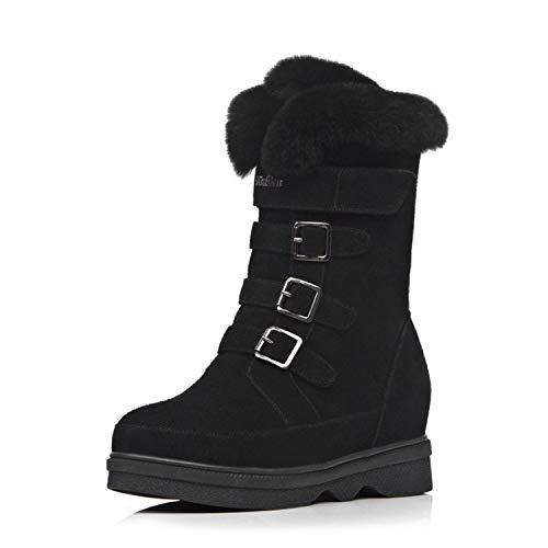Wildleder-plattform-boot (SWEAAY Boots Damen-Plattform-Schneestiefel Wildleder Künstliches Plüschfutter Innenhöhe Wasserdichte Plattform Warme Rutschfeste Winterbaumwollschuhe, Schwarz, 35)