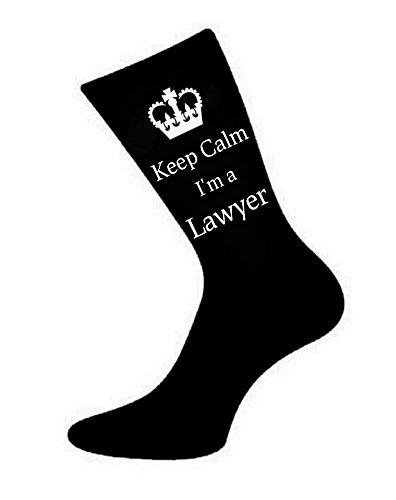 """Calze da uomo, con scritta in inglese """"Keep Calm I'm a Lawyer"""". Ottima idea come regalo per un avvocato,  colleghi, padri, nonni, amici"""
