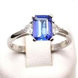 1.27 Carat Tanzanite & diamond Ring Set in 18ct White Gold by Jakob Strauss Size N