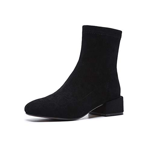 HOESCZS Square Heeled Ankle Boots Round Toe Autumn Winter Warm Snow Boots Zipper Female Socks Boots Shoes Woman 8 Black -